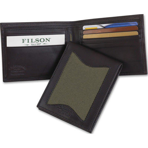 Filson Leather/Twill Outfitter Wallet | Otter Green