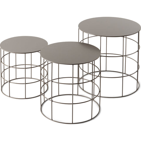 Atipico Set Of 3 Reton Rounded Coffee Tables | Beige Gray 7002