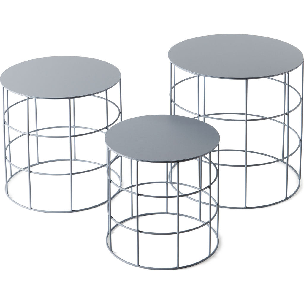 Atipico Set Of 3 Reton Rounded Coffee Tables Ash Gray Sportique