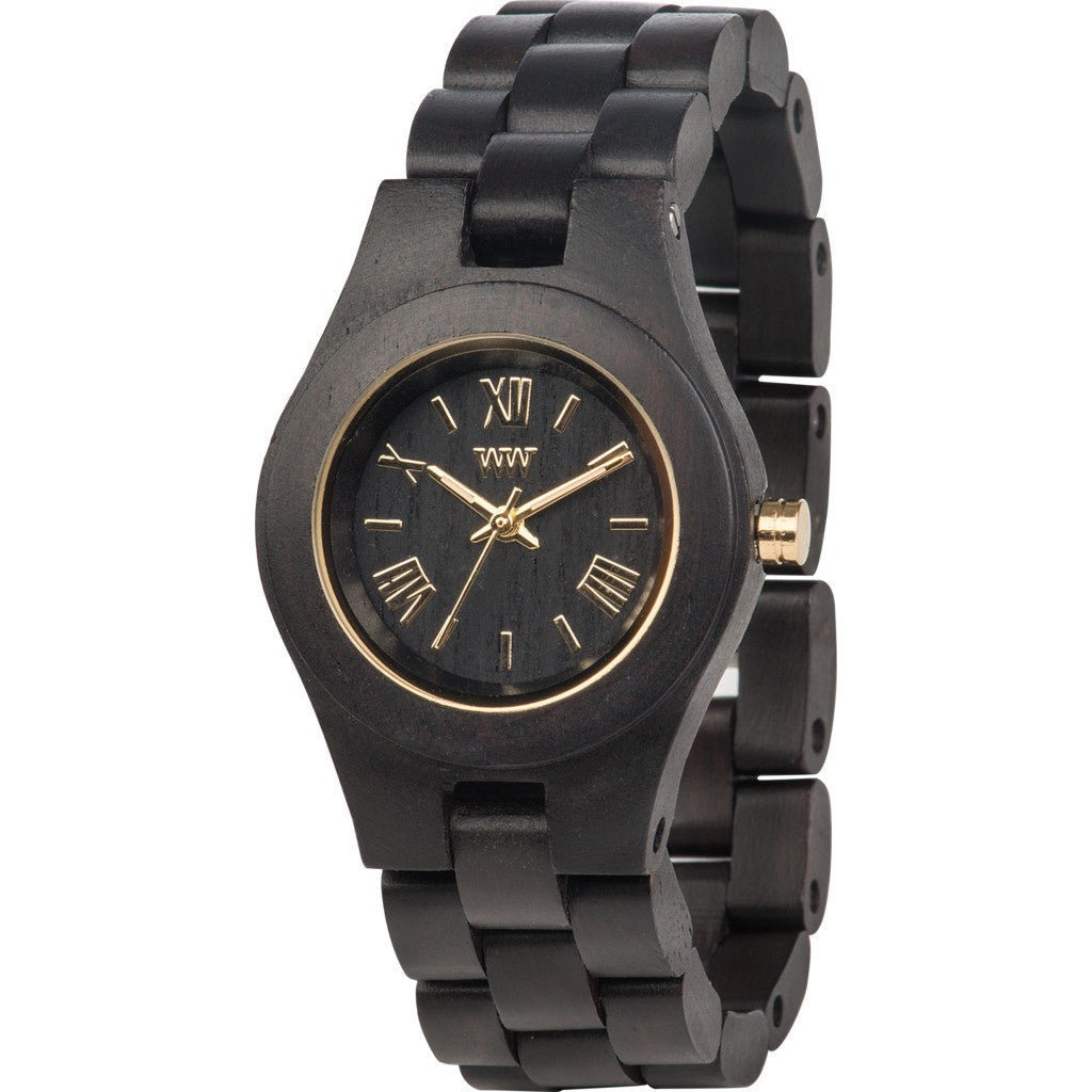wewood criss african blackwood wood watch black gold wcrbg sportique