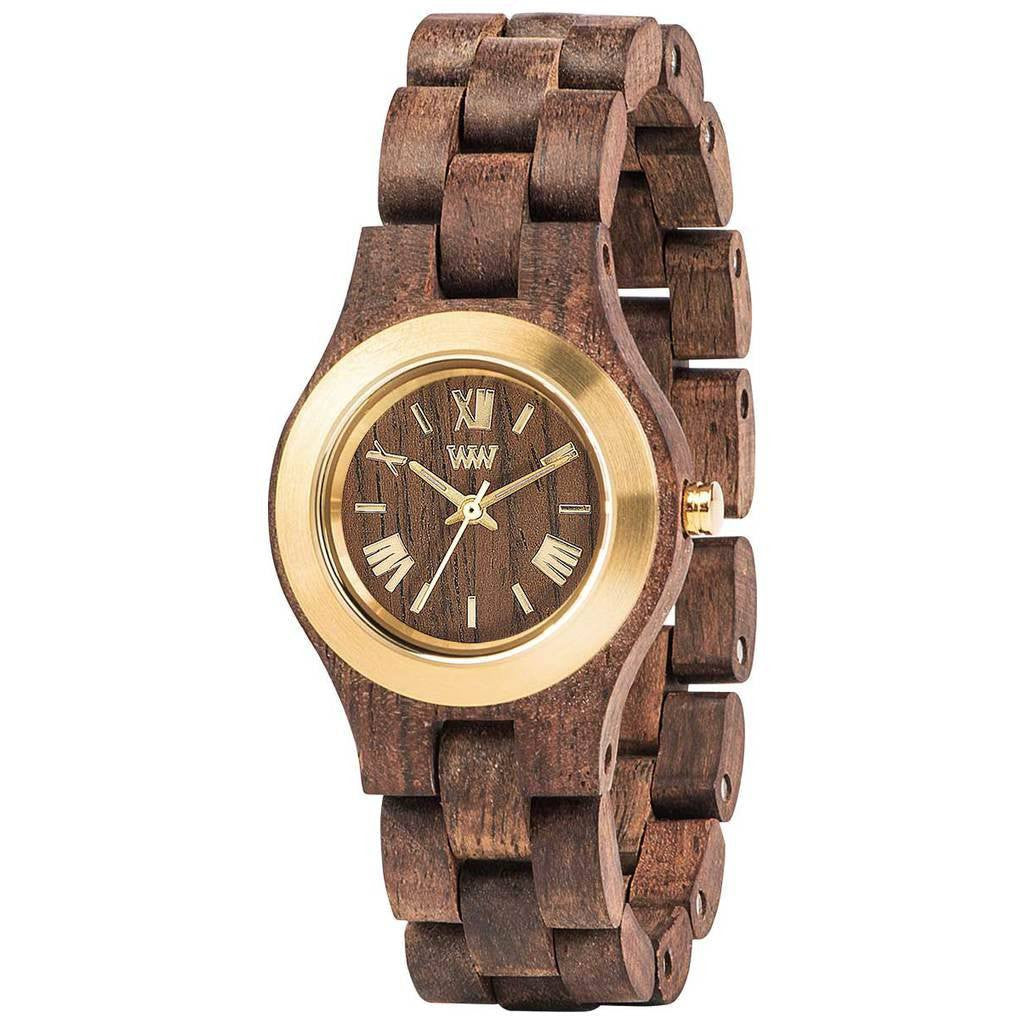 WeWood Criss Metal/Indian Rosewood Watch | Chocolate/Gold - WCMBCGO