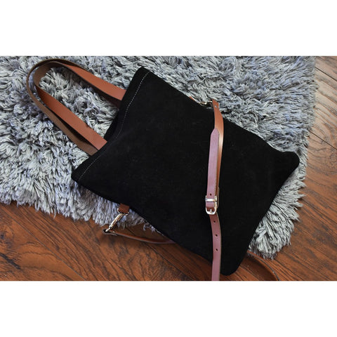 Kiko Leather Fold & Cross Suede/Leather Tote| Black-703-1