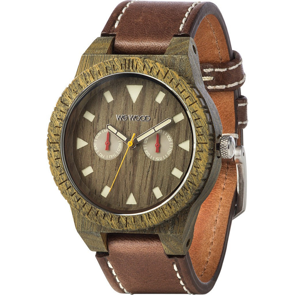 WeWood Leo Leather US Army Wood Watch | Brown WLLAUS