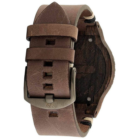 WeWood Alpha Swiss Rough African Blackwood Watch | Leather/Black-WASWBR