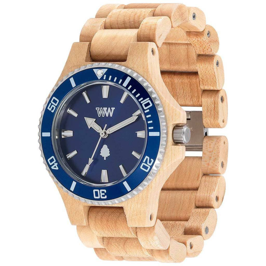 WeWood Date Metal/Maple Wood Watch | Beige/Blue - WDMBB