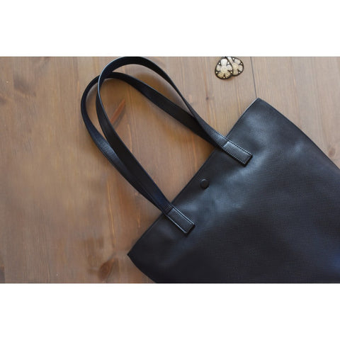 Kiko Leather Street Leather Tote | Black-705-1
