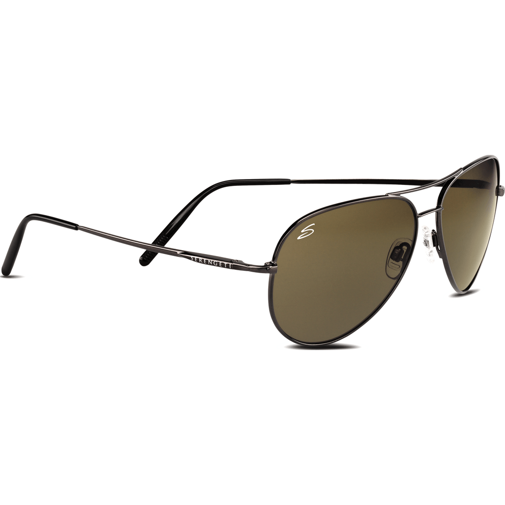 Serengeti Medium Aviator Shiny Gunmetal Photochromic Sunglasses | Polarized 555nm 7190