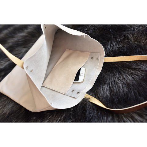 Kiko Leather Classy Leather Tote Bag | Beige
