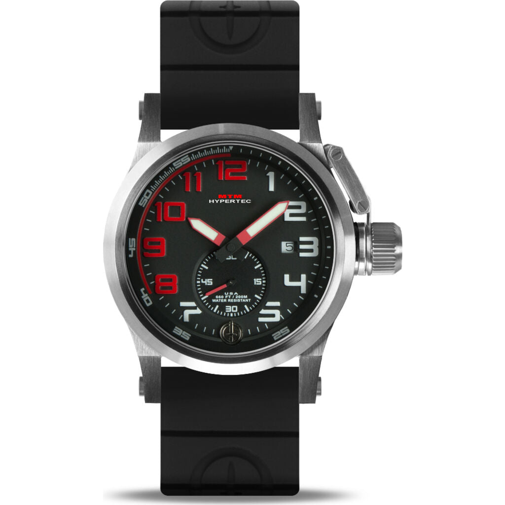 MTM Special Ops Hypertec Chronograph 1A Watch | Silver/Red/Black Rubber II