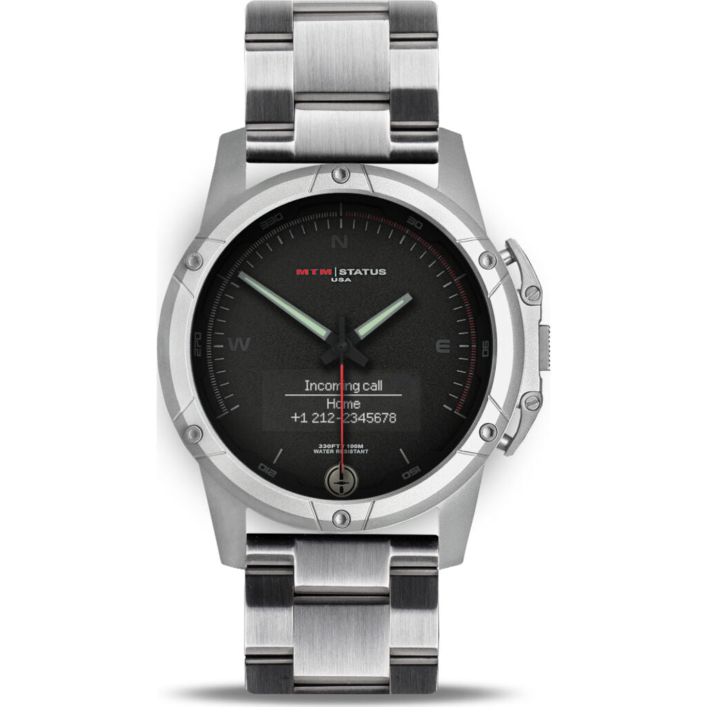 MTM Special Ops Status Watch | Silver/Black II/Steel Band