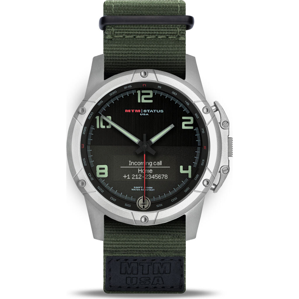 MTM Special Ops Status Watch | Silver/Black Lumi I/Nato Green