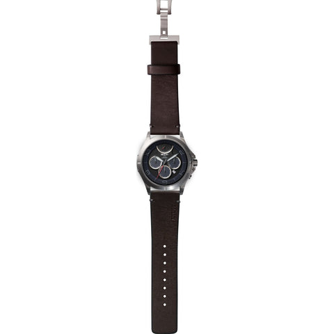 MTM Special Ops 42 Oconus Watch | Silver/Blue II/Leather Brown