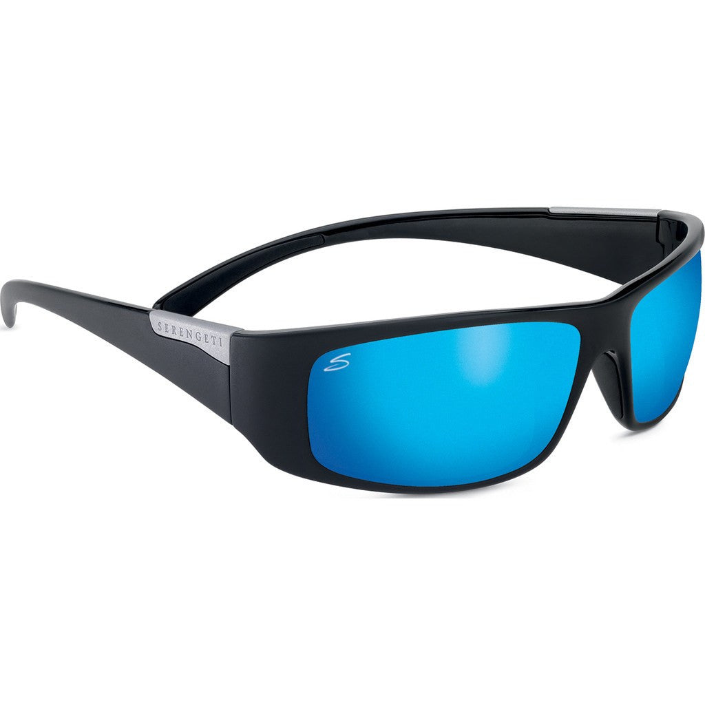 Serengeti Fasano Shiny Black Photochromic Sunglasses | Polar PhD 555nm Blue 8219