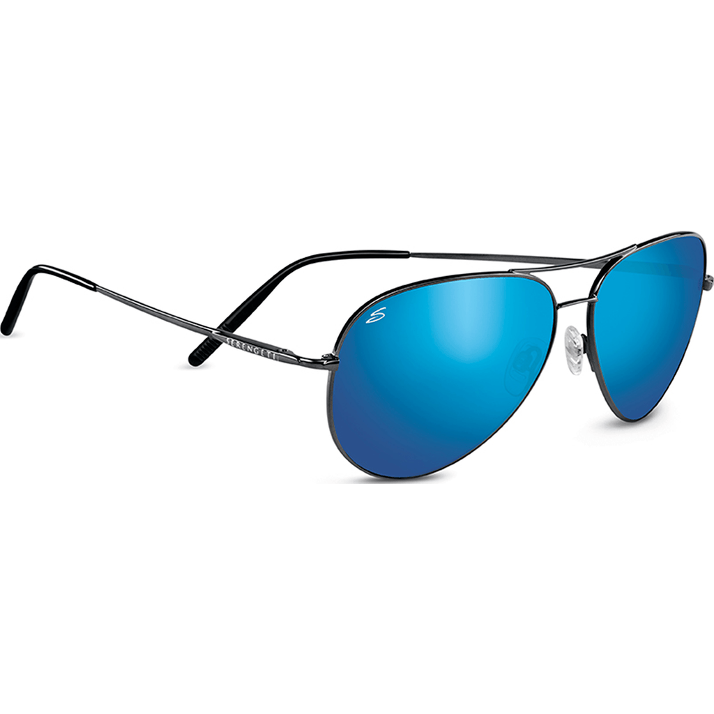 Serengeti Medium Aviator Shiny Dark Gunmetal Photochromic Sunglasses | Polarized 555nm Blue 8265
