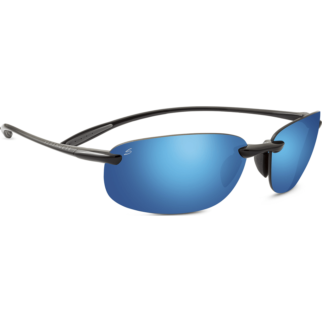 Serengeti Nuvino Shiny Black Photochromic Sunglasses | Polar PhD 555nm Blue 8270