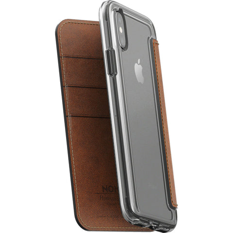 Nomad Folio Case for iPhone X | Clear/ Horween Brown Leather