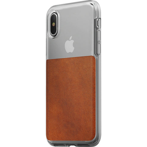 Nomad Case for iPhone X | Clear/Horween Brown Leather