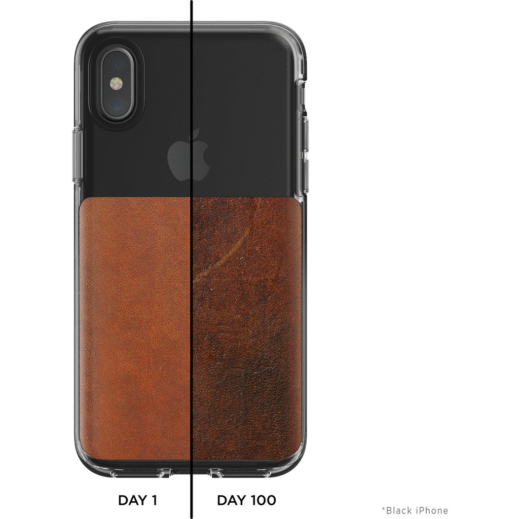 new concept 99603 c7e43 Nomad Clear Case for iPhone X | Clear/Brown Leather