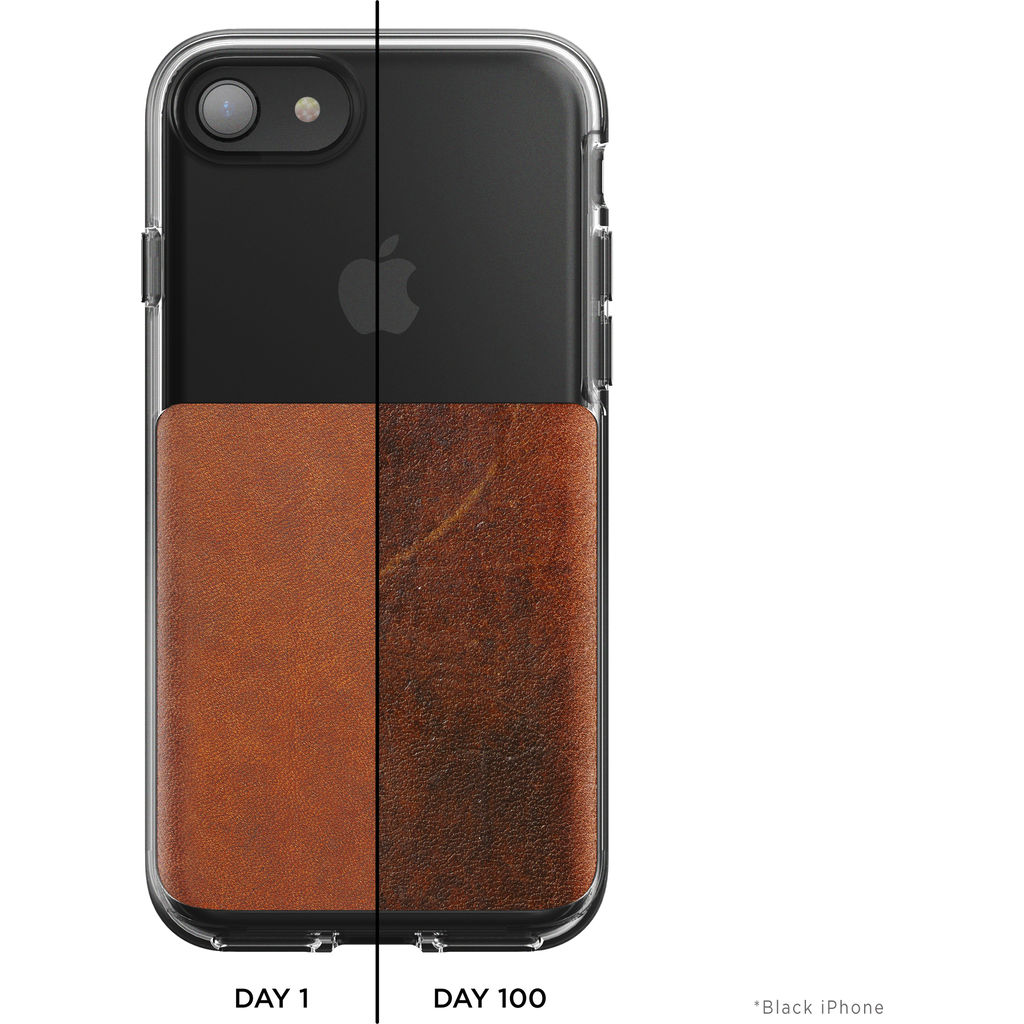 detailed look b8edb cf8e6 Nomad Clear Case for iPhone 7/8 | Clear/Brown Leather