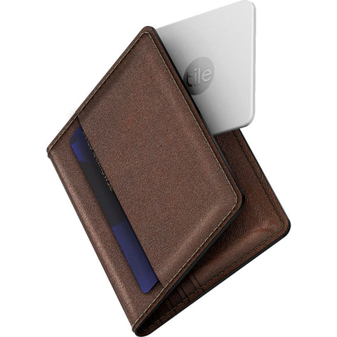 Nomad Wallet w/ Tile | Rustic Brown Leather