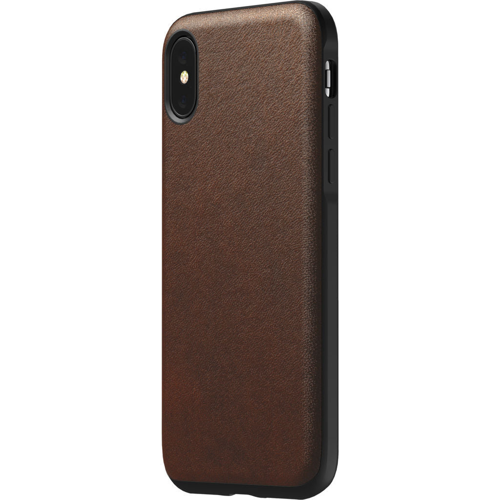 Hello Nomad Rugged Leather Case for iPhone XS | Rustic Brown Leather NM21FR0000
