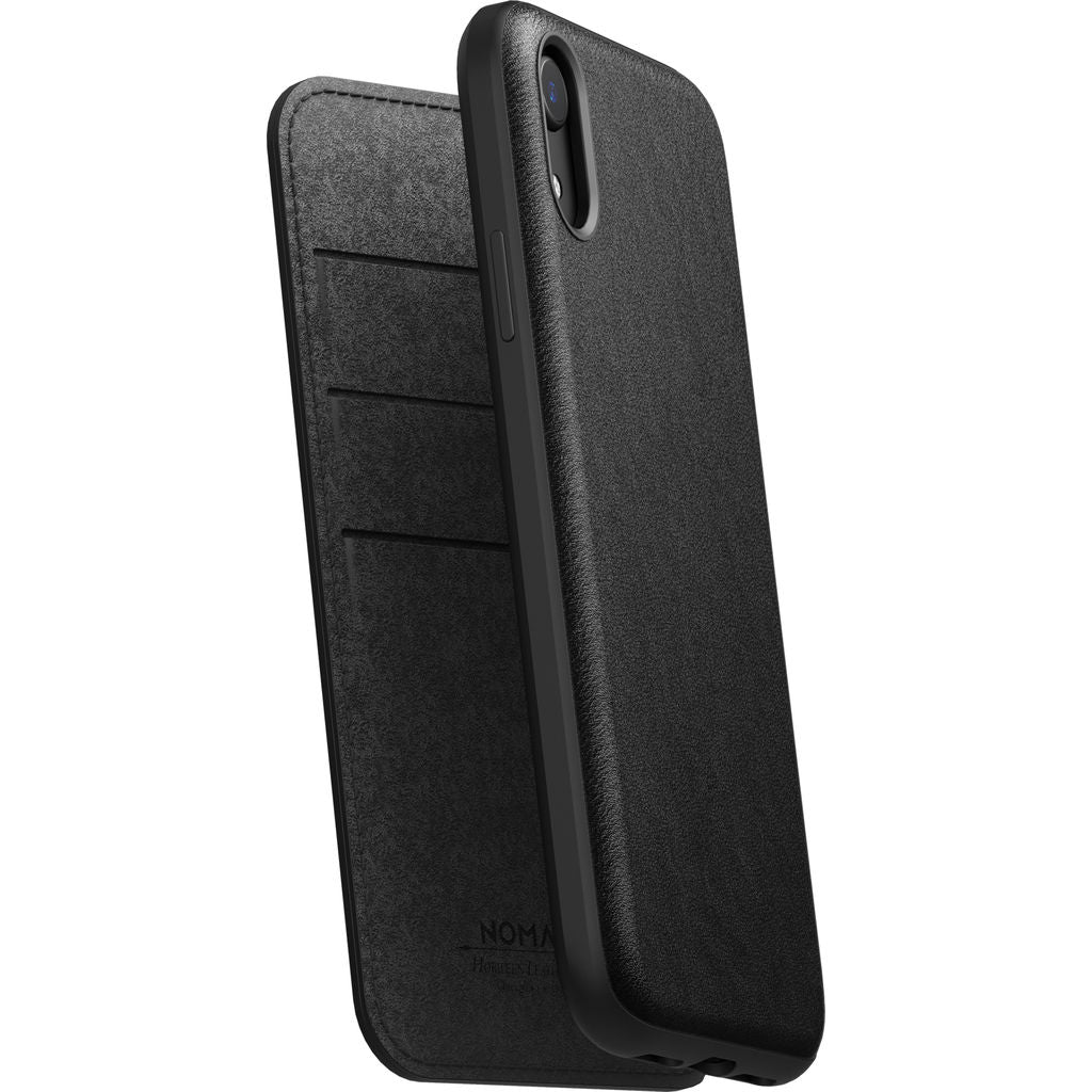 Nomad Folio Case for iPhone XR | Black Rugged Leather