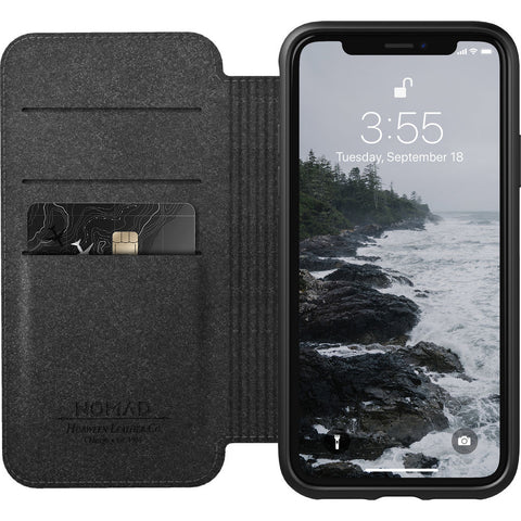 Nomad Folio Case for iPhone X/XS | Black Rugged Leather