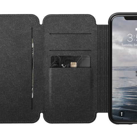Nomad Folio Leather Tri-Fold Case for iPhone X/XS | Rustic Brown
