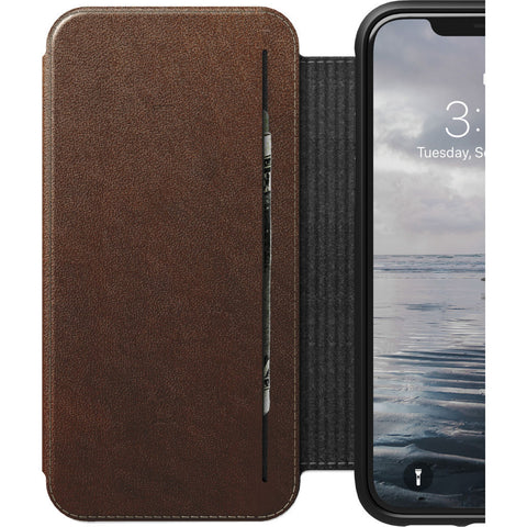 Hello Nomad Folio Tri-Fold Leather Case for iPhone XS Max | Rustic Brown Leather NM21TR0H50