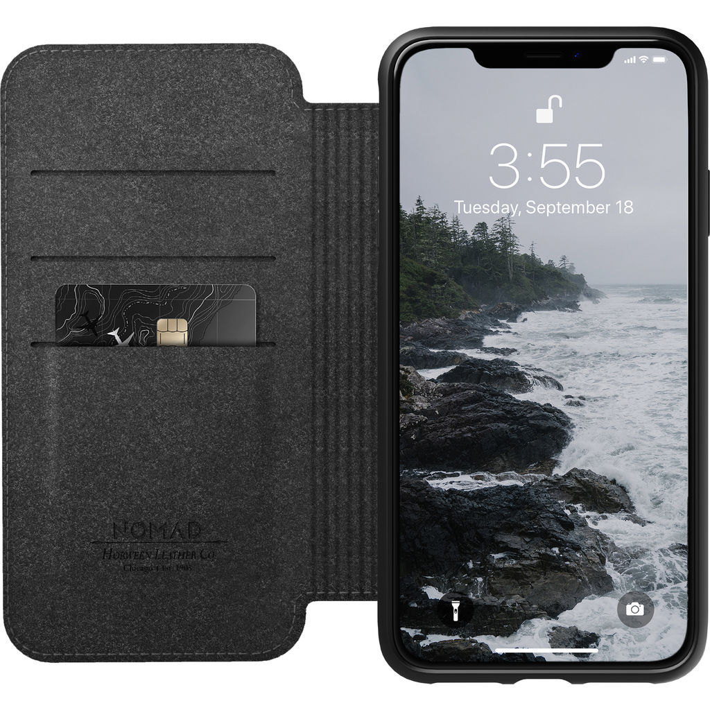 new product d9df1 39eea Nomad Folio Leather Case for iPhone XS Max | Black