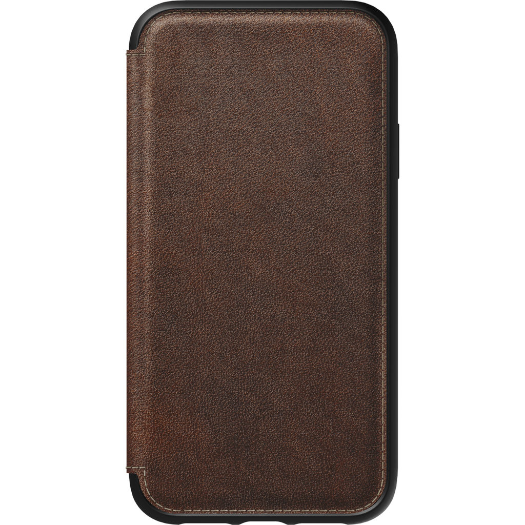 Nomad Folio Tri-Fold Case for iPhone XR | Rustic Brown Leather