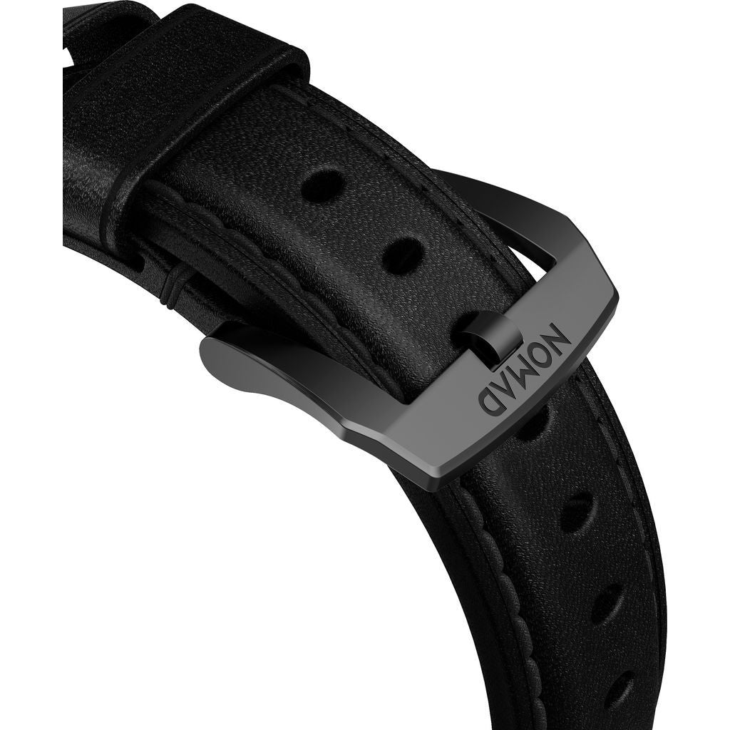 Hello Nomad Traditional Apple Watch Strap | Black Hardware / Black Leather NM1A41BT00