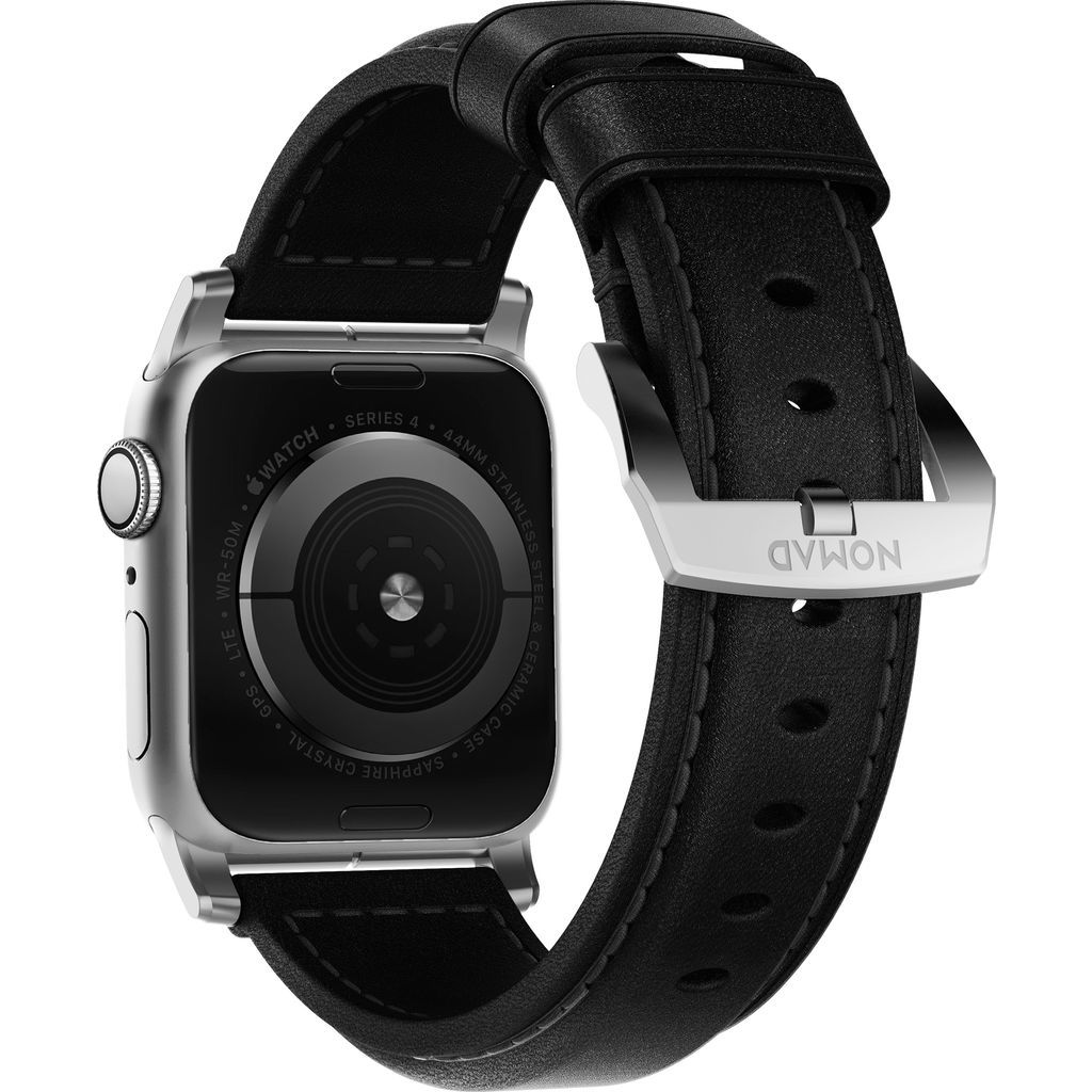 Hello Nomad Traditional Apple Watch Strap | Silver Hardware / Black Leather NM1A41ST00