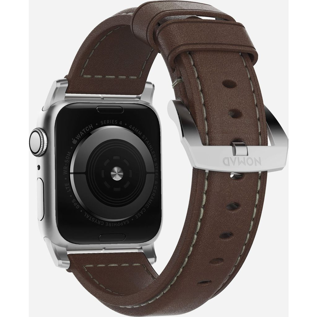 Nomad Traditional Apple Watch Strap | Silver Hardware / Brown Leather