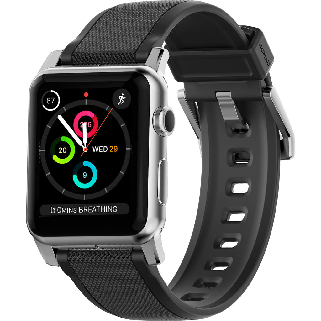 Nomad Silicone Strap for Apple Watch | Silver Hardware