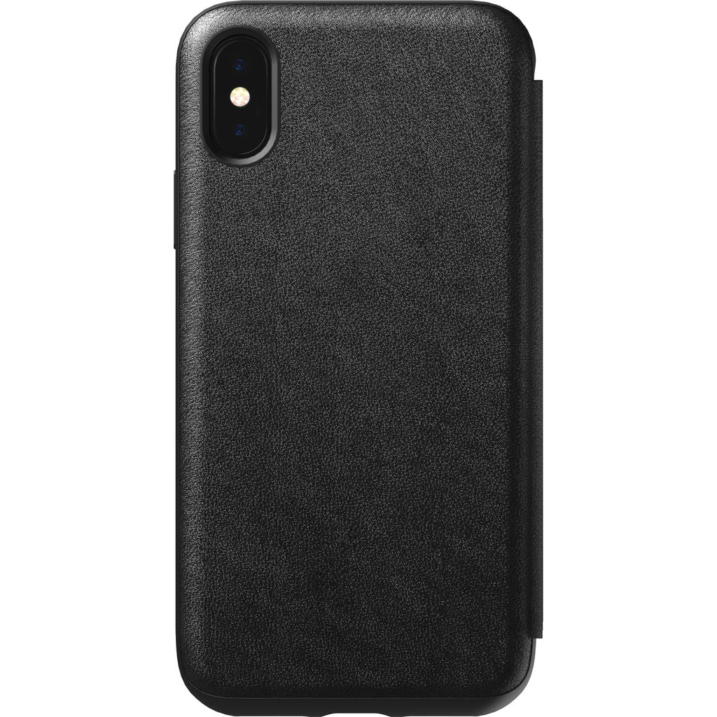 Hello Nomad Folio Tri-Fold Leather Case for iPhone XS | Black Leather NM21V10H50