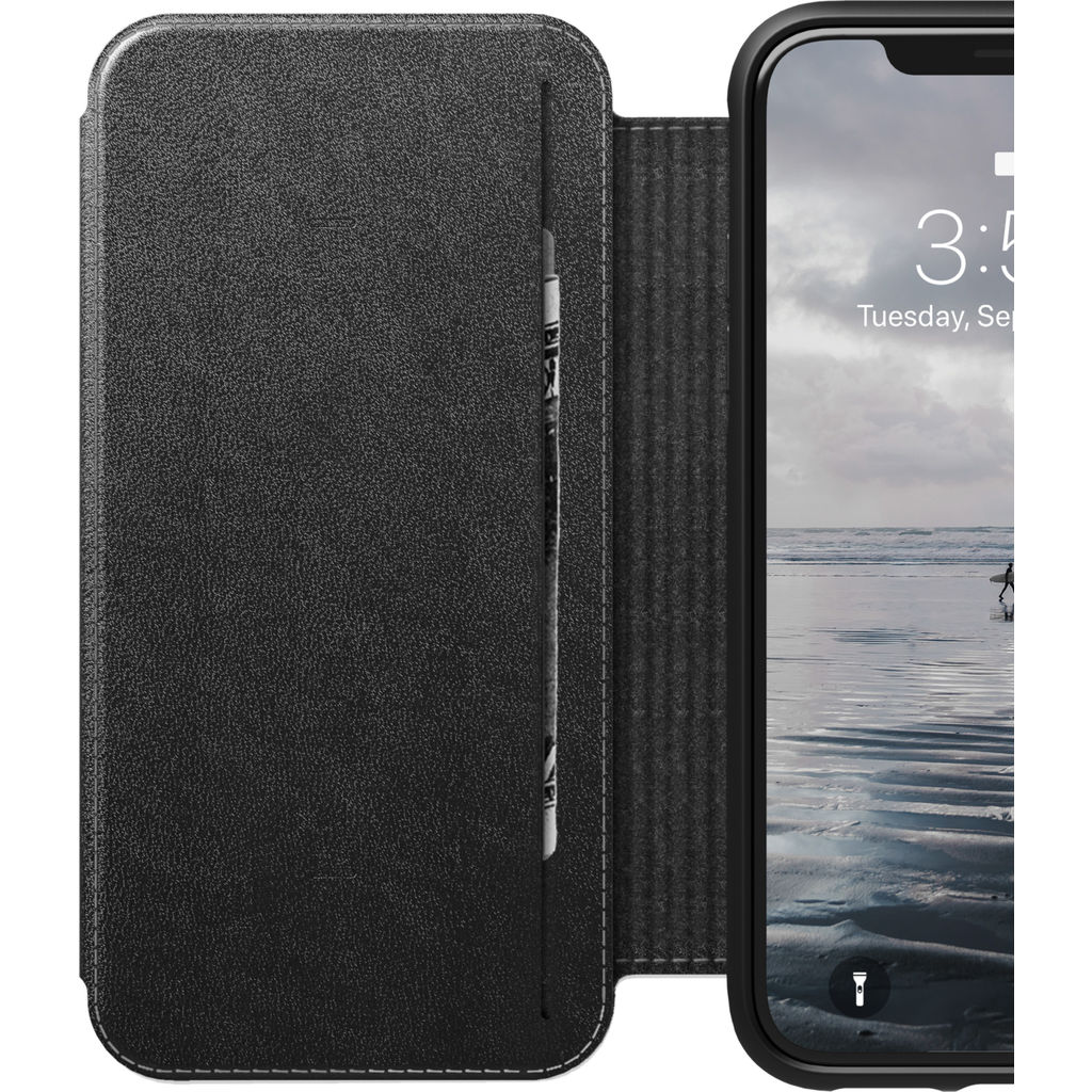 Hello Nomad Folio Tri-Fold Leather Case for iPhone XS Max | Black Leather NM21T10H50