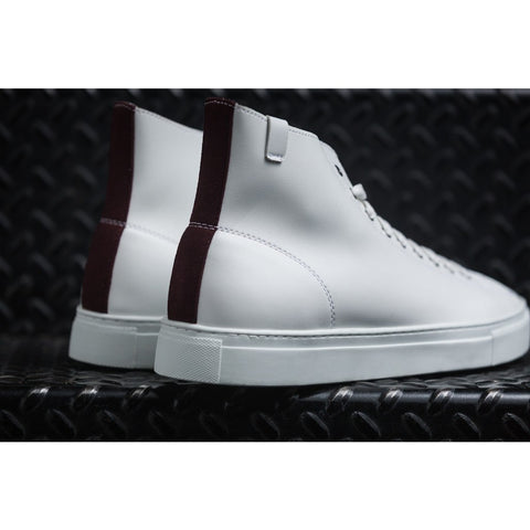 House of Future Original Hi Top Micro-Leather Shoes USM 13 | White/Maroon 1045B1009USM130