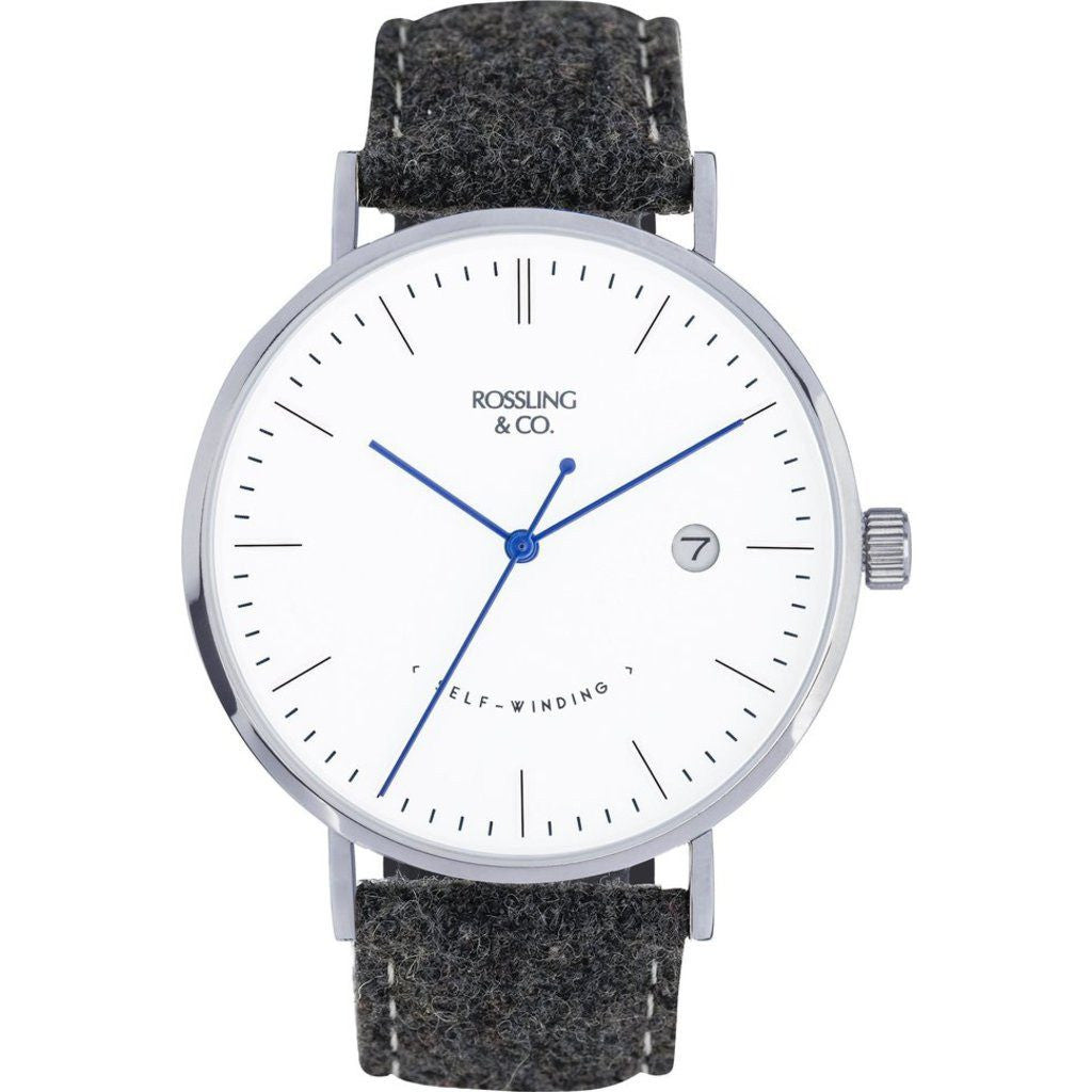 Rossling & Co. Classic Automatic Glencoe Watch | Silver/White/Blue RO-002-001