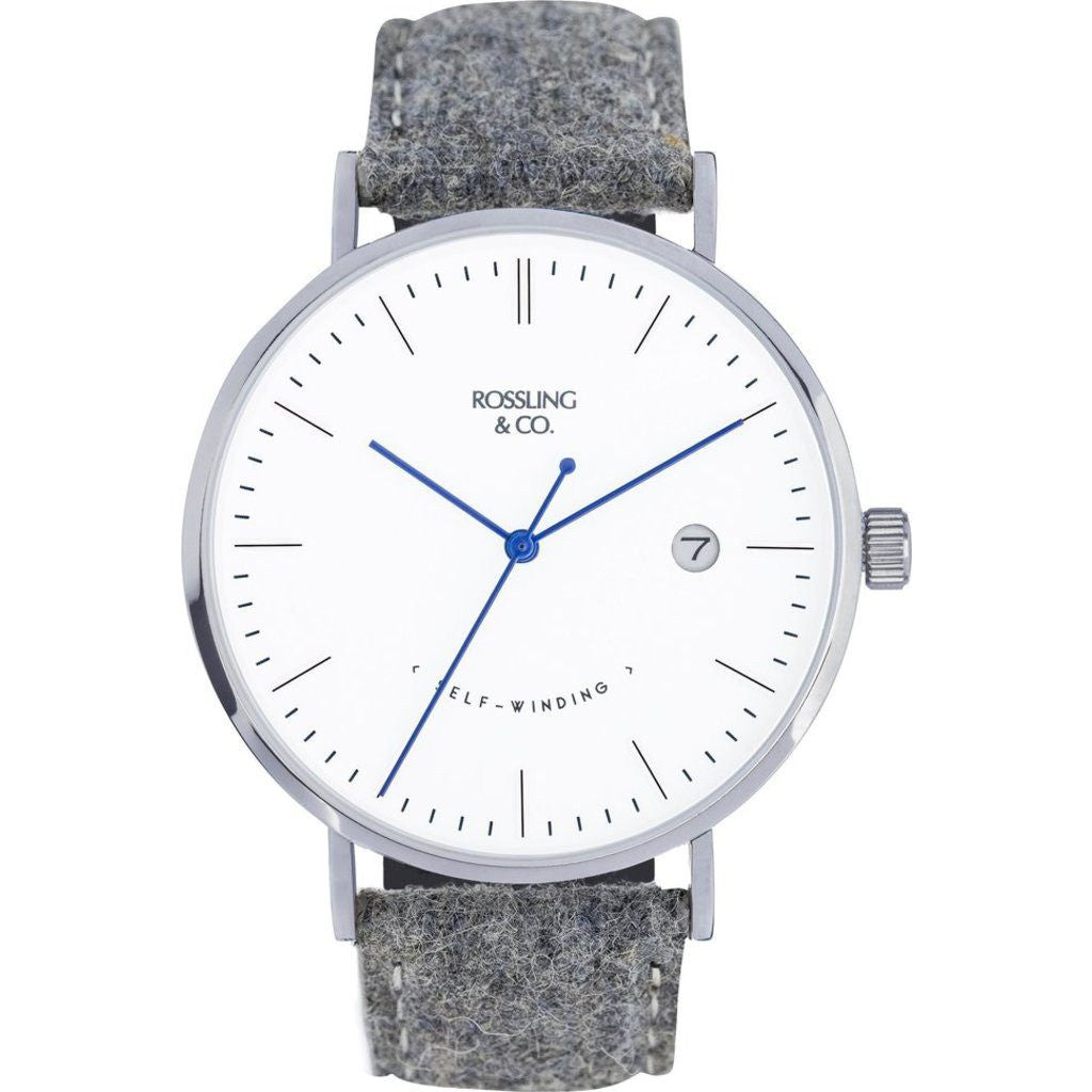 Rossling & Co. Classic Automatic Stirling Watch | Silver/White/Blue RO-002-002