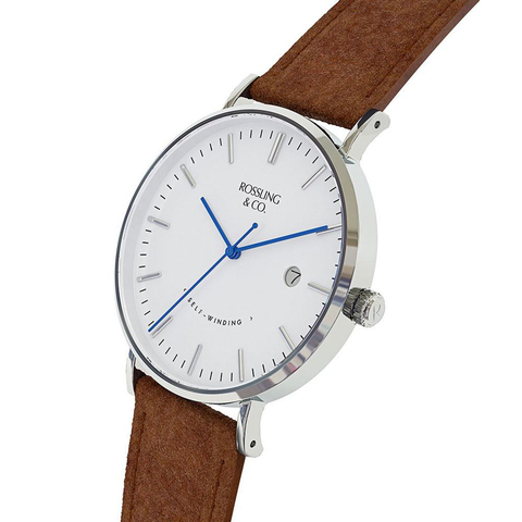 Rossling & Co. Classic Automatic 40 mm Watch | Brown Suede