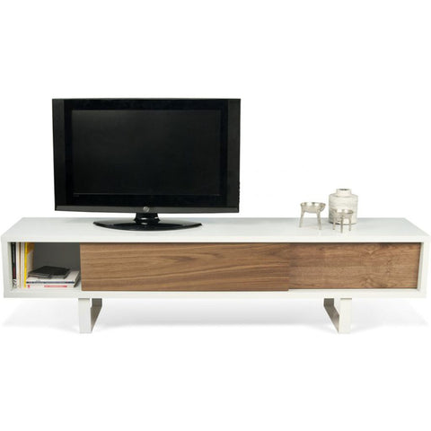 TemaHome Slide Tv Table | Pure White Frame / Walnut 9500.621611
