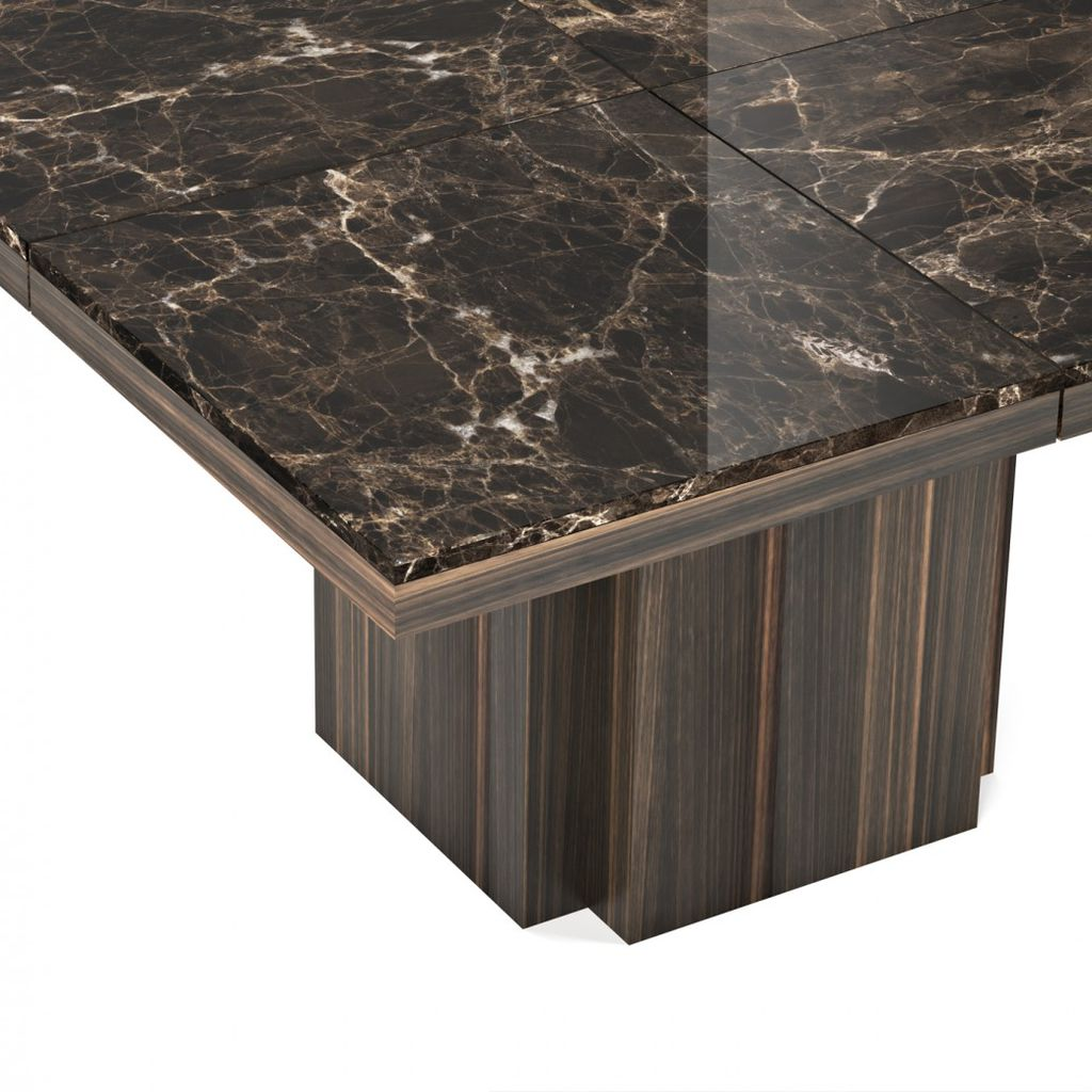 TemaHome Dusk 130 Dining Table | Brown Marble / Smoked Eucalyptus 9500.628023