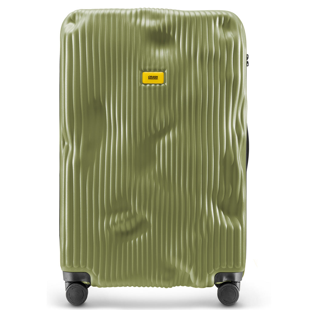 Crash Baggage Stripe Trolley Suitcase - Olive