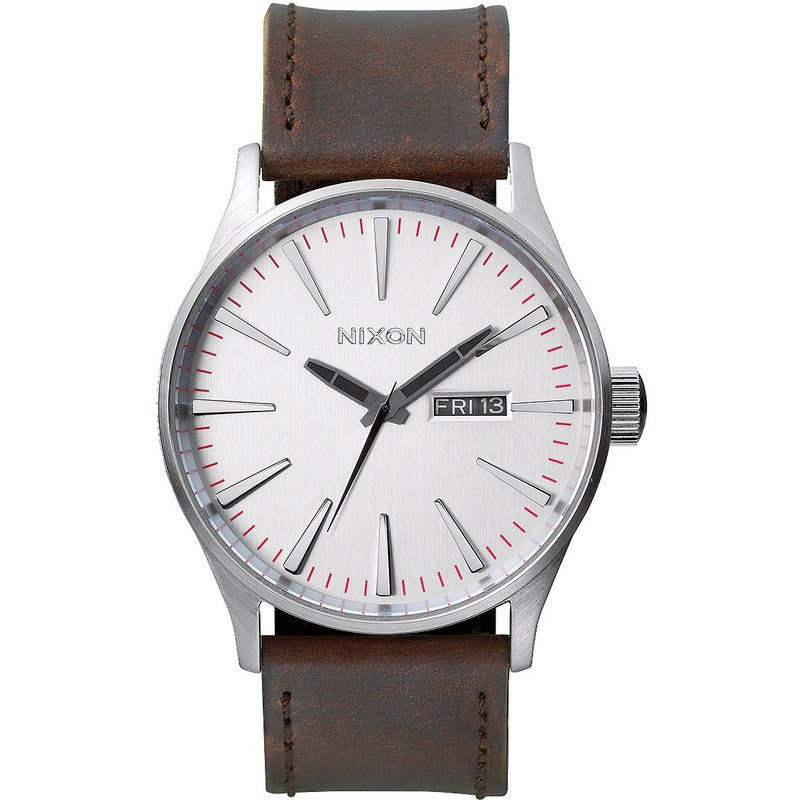 Nixon Sentry Leather Men's Watch | Silver / Brown