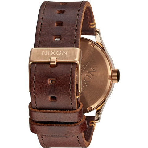 Nixon Sentry Leather Men's Watch | Rose Gold / Gunmetal / Brown
