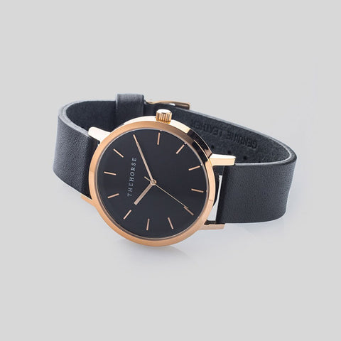 The Horse Original Polished Rose Gold Watch | Black ST0123-A11
