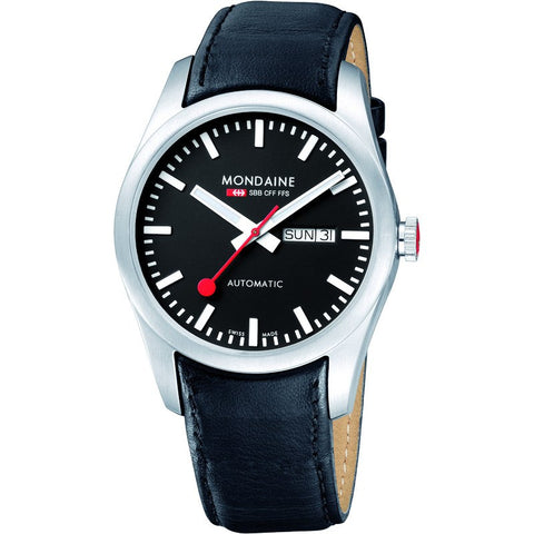 Mondaine Retro Day/Date Automatic Black Leather Strap | Black