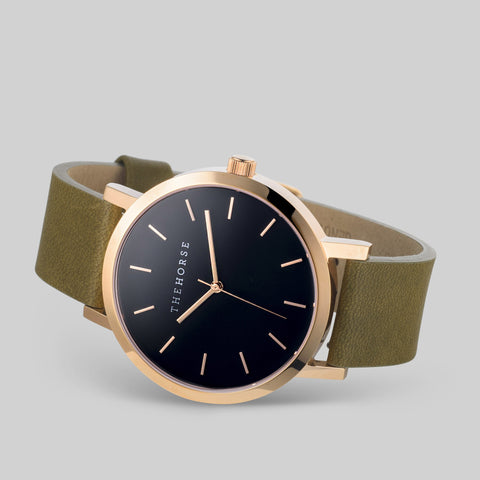 The Horse Original Rose Gold Watch | Black/Olive A22