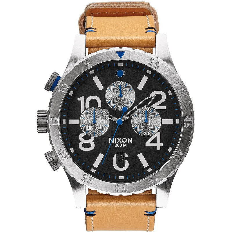 Nixon 48-20 Chrono Leather Men's Watch | Natural / Black
